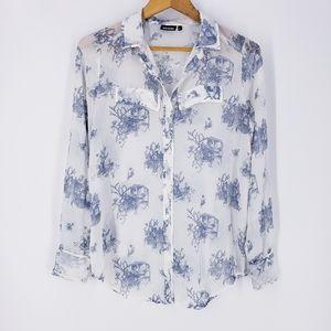 Tildon Blue and White Print Button Down Shirt